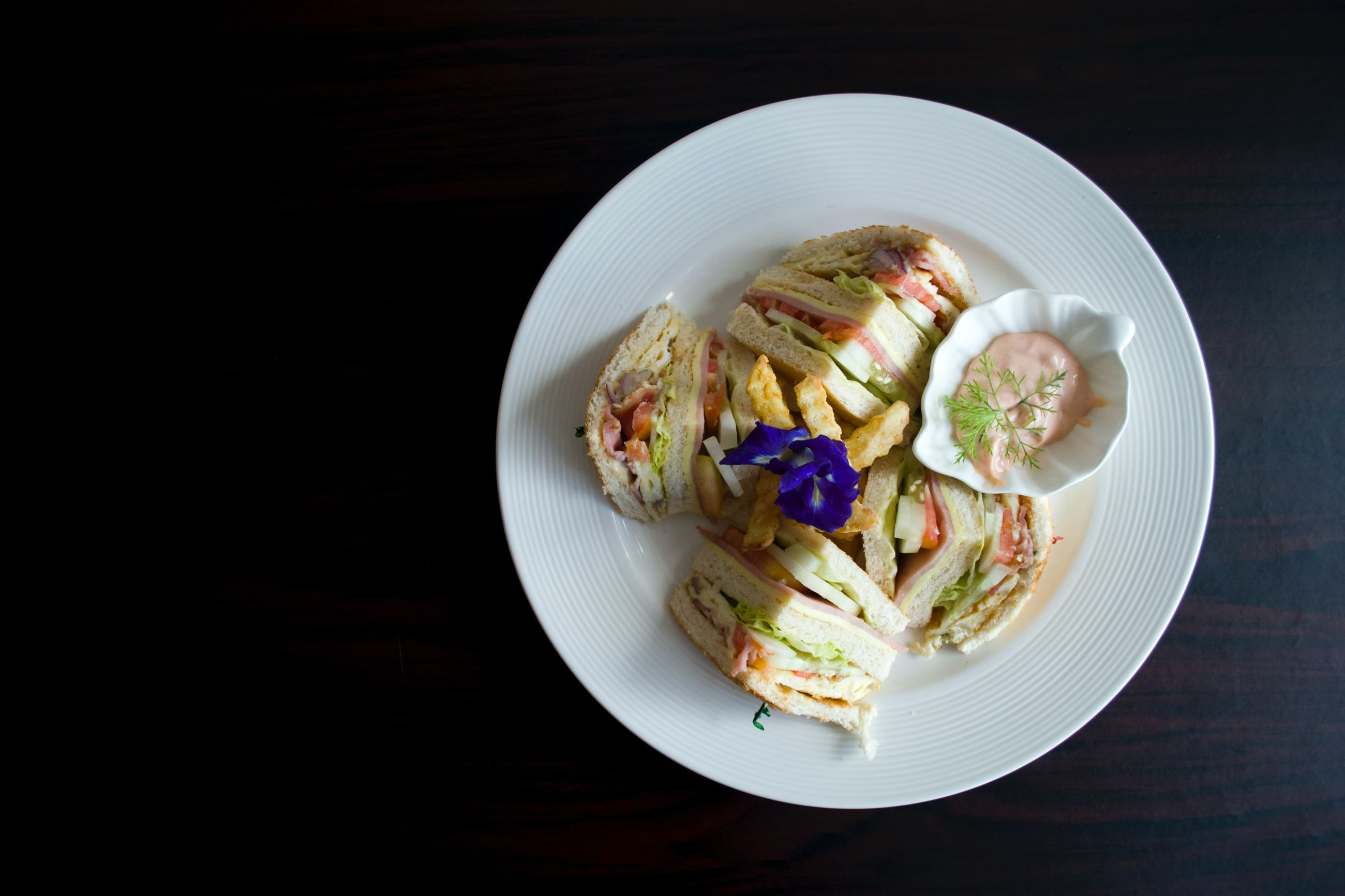 sliced-clubhouse-on-round-white-ceramic-plate-959922